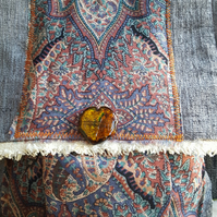 Paisley and grey velour shoulder bag