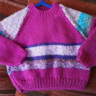 Bright Pink Striped Baby Jumper