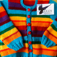 Rainbow Colours Hand Knitted Toddler Cardigan