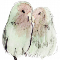 Love Birds Watercolour Signed A4 Print
