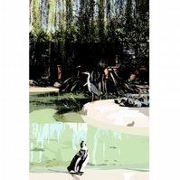 A4 Heron stealing Penguin's food signed print