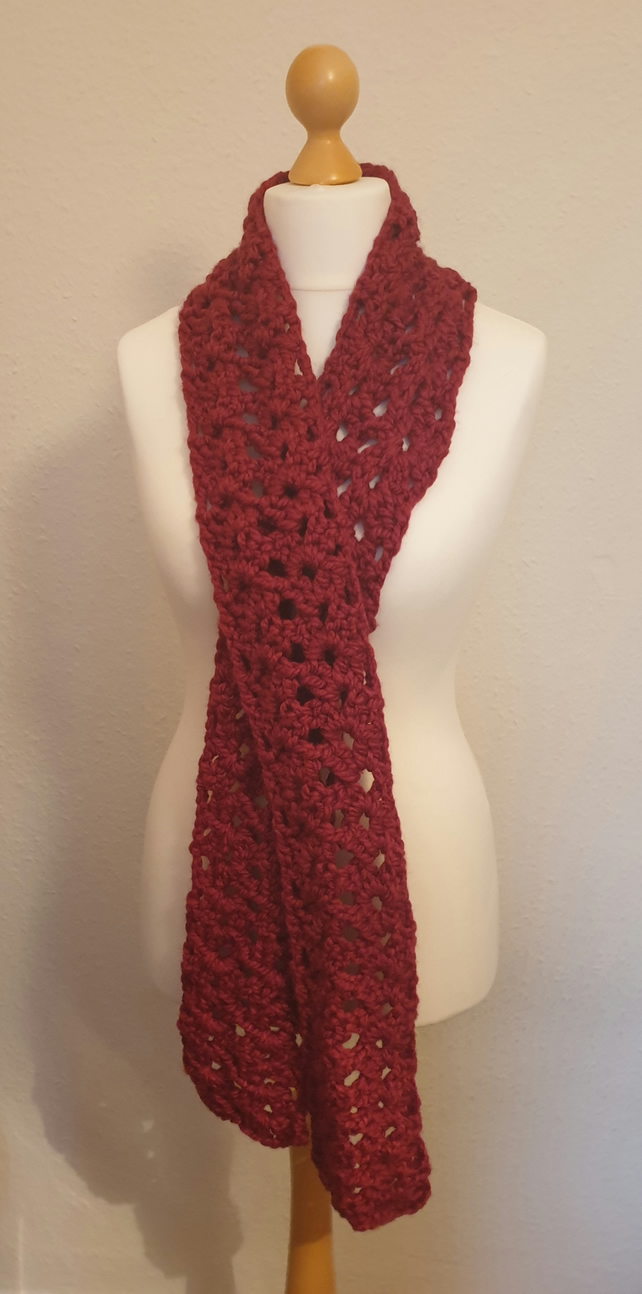 Crochet Winter Scarf Berry Red