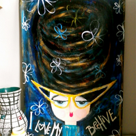 I LOVE MY BEEHIVE ORIGINAL PAINTING ON WOOD