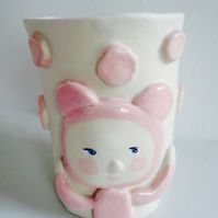 PINK BEAR CERAMIC TUMBLER OR POT