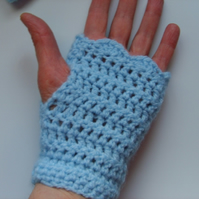 Crocheted light blue fingerless gloves