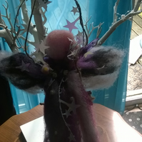 hand felted fairy on a swing