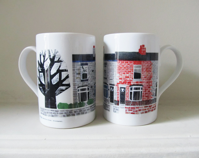 'Hillsborough Terraces' Porcelain Mug .