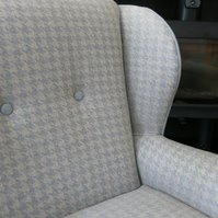 Gorgeous wingback armchair in stunning dogtooth wool