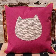 Handmade cushion with contemporary applique cat design