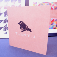 Thank you.  Linoprint card with bird silhouette design.