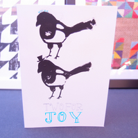 Two for joy hand printed magpie card