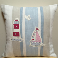 Decorative Cushion - Appliqué Boat and Lighthouse