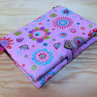 Fabric Covered Notebook - Funky Flowers and Butterflies