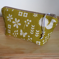 Cosmetic Bag - Modern Flower and Butterfly Print