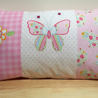 Bedroom Cushion - Pink Butterfly and Flowers