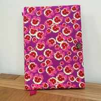 Fabric Covered Notebook - Vibrant Pansy Print