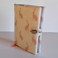 Fabric Covered Notebook - Pink Hares