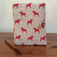 Fabric Covered Notebook - Scandi Horses