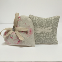 Pair of Lavender Sachets- Floral Heart and Dragonfly Sachet