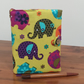 Fabric Covered Notebook- Funky Elephants and Flowers