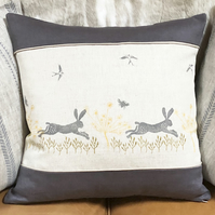 Decorative Cushion-Leaping Wild Hare