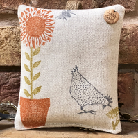 Hanging Lavender Sachet- Sunflower and Chickens