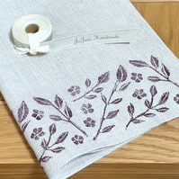 Hand Printed Linen Tea Towel- Trailing Jasmine
