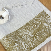 Hand Printed Linen Tea Towel - Leaping Hare