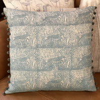 Decorative  Hand Printed Cushion-Leaping Wild Hare