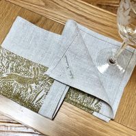 Set of 4 Handprinted Napkins
