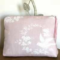 Cosmetic Bag-Bird and Flower Wreath Design