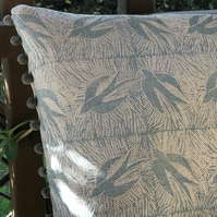 Decorative Hand Printed Cushion-Swallows in Flight