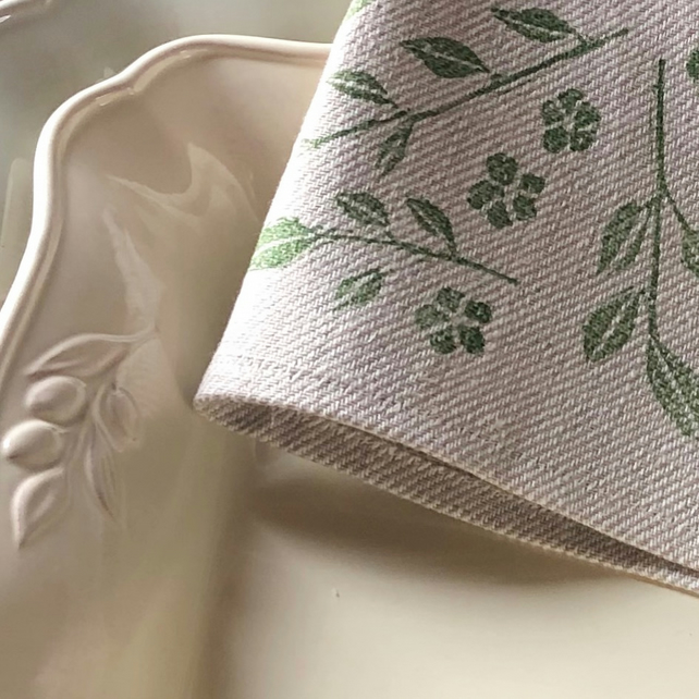 Hand Printed Linen Tea Towel-Trailing Jasmine