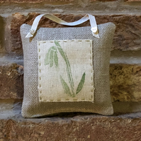 Hand Printed Hanging Lavender Sachet- Snowdrop