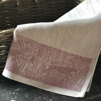 Hand Printed Linen Tea Towel- Leaping Hare