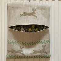 Hand Printed Linen Peg Bag- Leaping Wild Hare