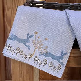 Hand Printed Linen Tea Towel - Leaping Wild Hare