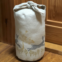 Hand Printed Fabric Door Stop-Leaping Wild Hare