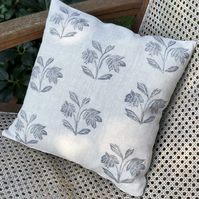 Decorative Hand Printed Cushion- Helebores
