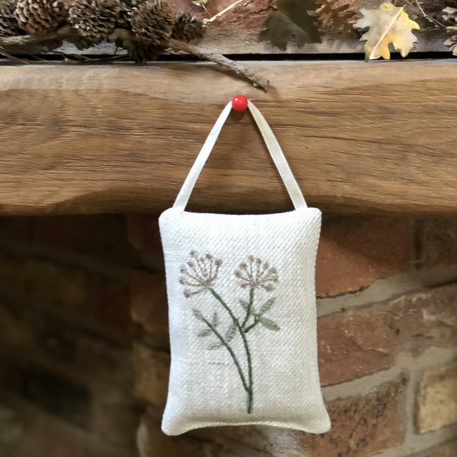 Hand  Emroidered Hanging Lavender Sachet- Cow Parsley