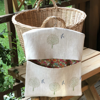 Hand Printed Linen Peg Bag- Swallow