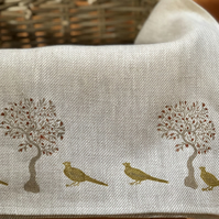 Hand Printed Linen Tea Towel- Country Pheasants