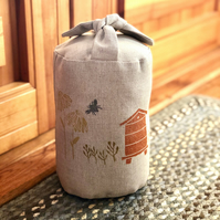 Hand Printed Fabric Doorstop- Honey Bees