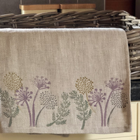 Hand Printed Linen Tea Towel-Spring Flowers