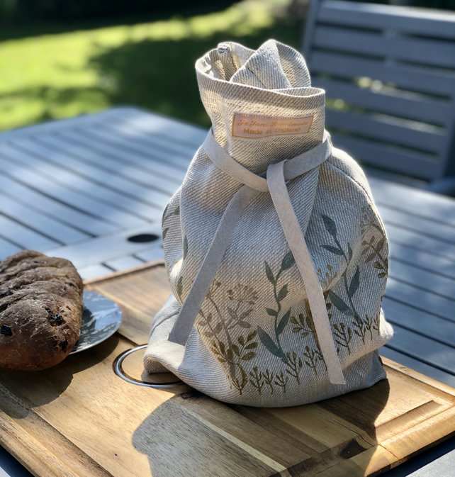 Hand Printed Linen Bread Bag-Spring Meadow