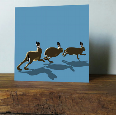 Hares - Pack of Five - Easter Cards
