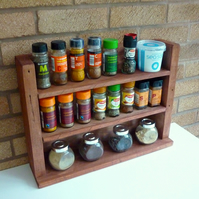 Rustic Wooden Spice Rack - Rosewood Stain Finish