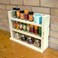 Rustic Wooden Spice Rack - Natural Finish