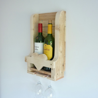 Rustic Wooden Wine Rack Heart Detail. Great Wedding Gift, Anniversary, Romantic