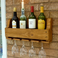 Rustic Wooden Wine Rack - Antique Pine